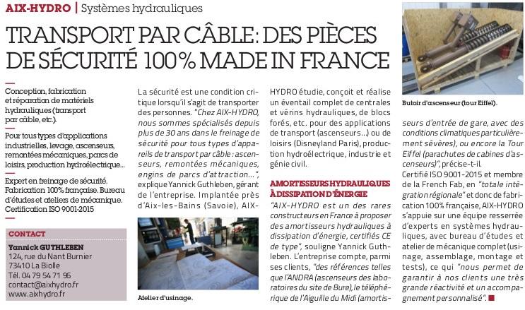 Cocorico !! Aix-Hydro est dans l'Usine Nouvelle (édition du 25 avril 19), dans le cahier spécial «Made in France».