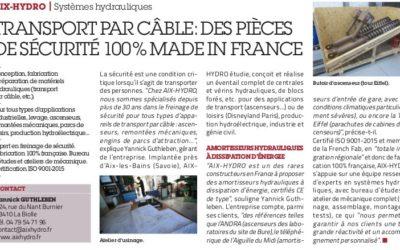 """Cocorico !! Aix-Hydro est dans l'Usine Nouvelle (édition du 25 avril 19), dans le cahier spécial """"Made in France""""."""